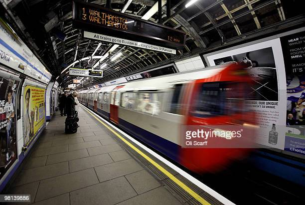 London Underground train arrives in Victoria station on March 30 2010 in London England London Underground workers are to be balloted for strike...
