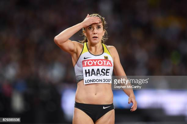 London United Kingdom 10 August 2017 Rebekka Hasse of Germany reacts following the semifinal of the Women's 200m event during day seven of the 16th...