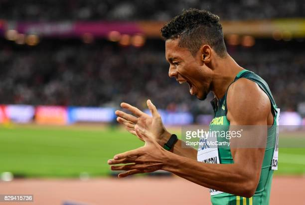 London United Kingdom 10 August 2017 Wayde van Niekerk of South Africa reacts following the final of the Men's 200m event during day seven of the...