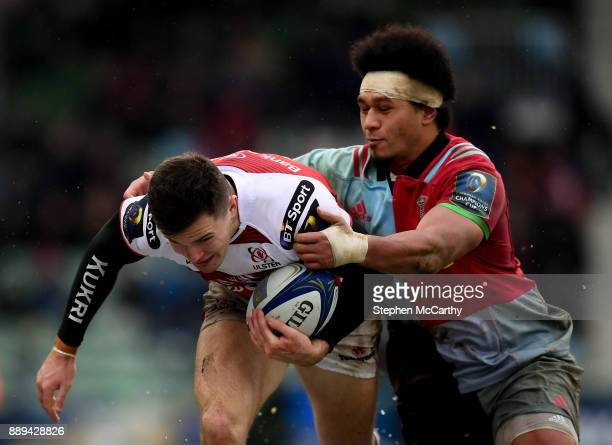 London United Kingdom 10 December 2017 Jacob Stockdale of Ulster is tackled by Elia Elia of Harlequins during the European Rugby Champions Cup Pool 1...