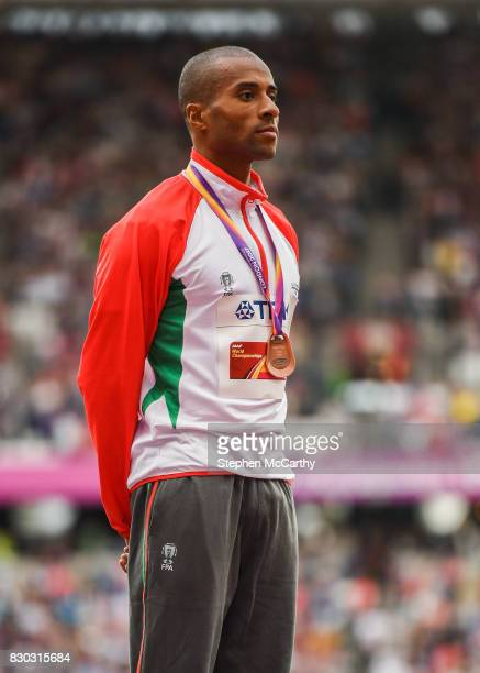 London United Kingdom 11 August 2017 Nelson Évora of Portugal after receiving his Men's Triple Jump bronze medal during day eight of the 16th IAAF...