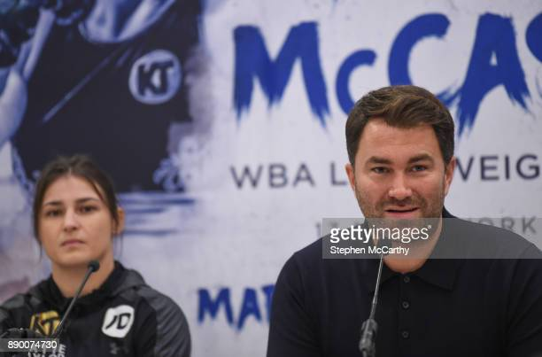 London United Kingdom 11 December 2017 Promoter Eddie Hearn and Katie Taylor during a press conference at the Courthouse Hotel in Shoreditch London...