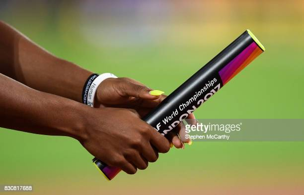 London United Kingdom 12 August 2017 A detailed view of a relay baton prior to the final of the Women's 4x100m Relay event during day nine of the...