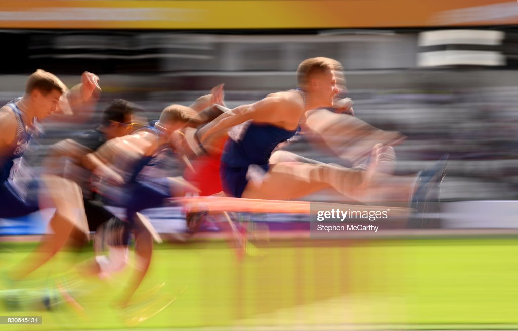 London , United Kingdom - 12 August 2017; Janek Oiglane of Estonia competes in the Men's 110m Hurldes Decathlon event during day nine of the 16th IAAF World Athletics Championships at the London Stadium in London, England.
