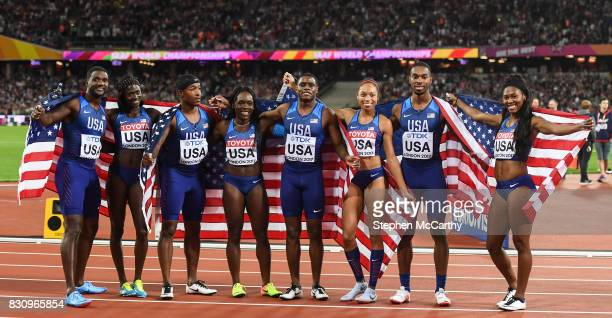 London United Kingdom 12 August 2017 Mike Rodgers Justin Gatlin BeeJay Lee and Christian Coleman of the United States silver from the mens 4x100...