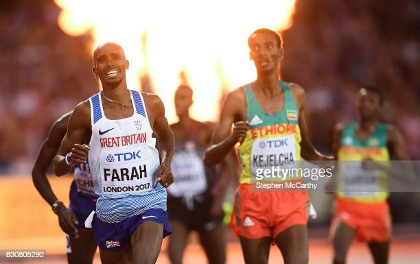 London United Kingdom 12 August 2017 Mo Farah of Great Britain crosses the line in second place during the final of the Men's 5000m event during day...