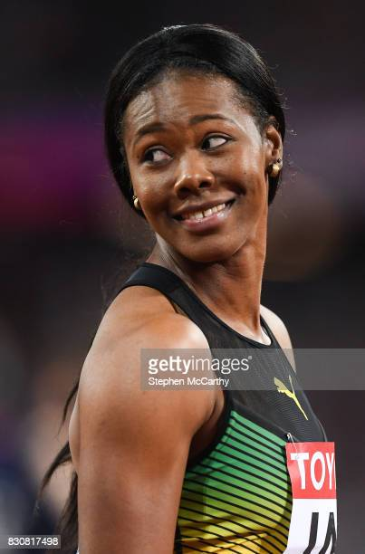 London United Kingdom 12 August 2017 Natasha Morrison of Jamaica prior to the final of the Women's 4x100m Relay event during day nine of the 16th...