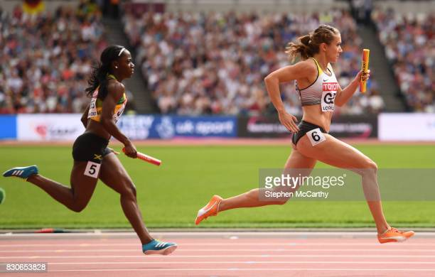 London United Kingdom 12 August 2017 Rebekka Haase runs the anchor leg for her Germany team in round one of the Women's 4x100m Relay event during day...