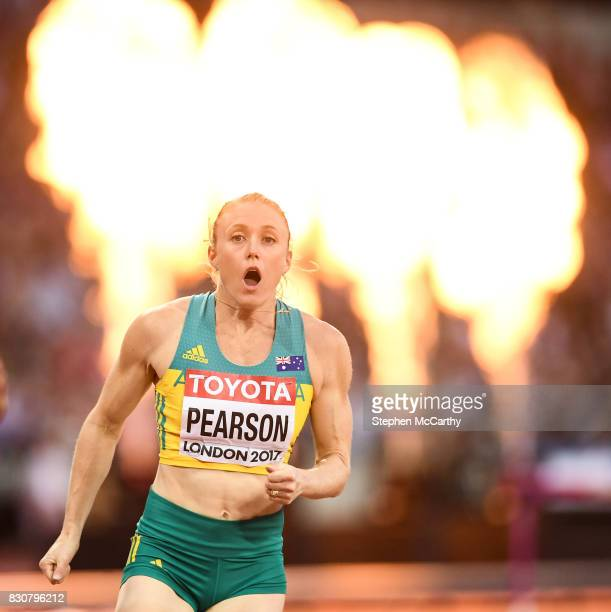 London United Kingdom 12 August 2017 Sally Pearson of Australia reacts after winning the final of the Women's 100m Hurdles event during day nine of...