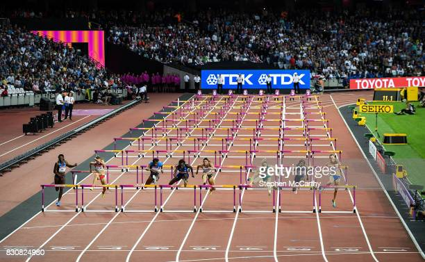 London United Kingdom 12 August 2017 Sally Pearson of Australia third from right jumps the final hurdle on her way to winning the final of the...