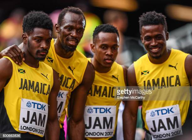 London , United Kingdom - 12 August 2017; The Jamaica team, from left, Micheal Campbell, Usain Bolt, Julian Forte and Tyquendo Tracey followng round...
