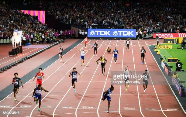 London United Kingdom 12 August 2017 Usain Bolt running the anchor leg for his Jamaica team pulls up with an injury as Great Britain win the Men's...