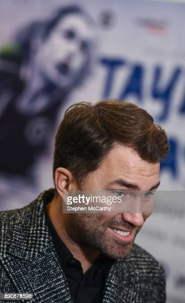 London United Kingdom 12 December 2017 Matchroom Boxing promoter Eddie Hearn ahead of the Katie Taylor and Jessica McCaskill weighi in at the...