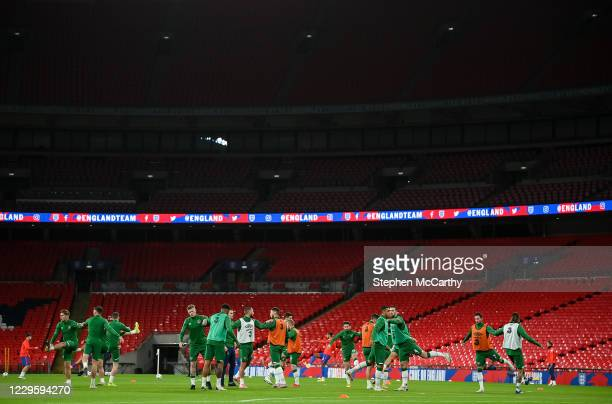 London , United Kingdom - 12 November 2020; A general view of the Republic of Ireland team warm-up prior to the International Friendly match between...