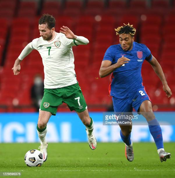 London , United Kingdom - 12 November 2020; Alan Browne of Republic of Ireland in action against Reece James of England during the International...
