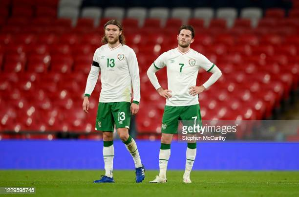 London , United Kingdom - 12 November 2020; Alan Browne, right, and Jeff Hendrick of Republic of Ireland react after their side conceded their second...