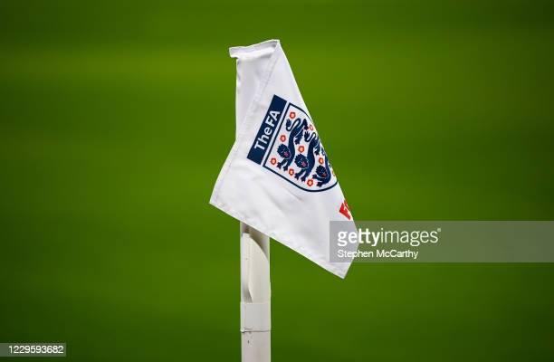London , United Kingdom - 12 November 2020; An England FA branded corner flag is seen prior to the International Friendly match between England and...
