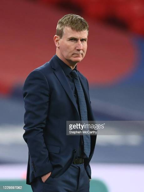London , United Kingdom - 12 November 2020; Republic of Ireland manager Stephen Kenny during the International Friendly match between England and...