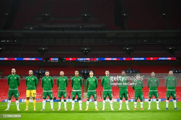 London , United Kingdom - 12 November 2020; Republic of Ireland players stand for the national anthems prior to the International Friendly match...