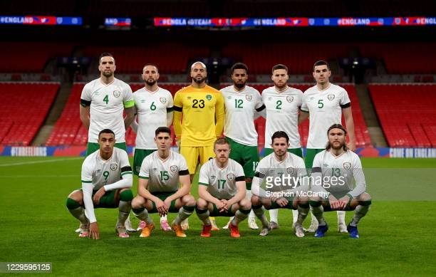London , United Kingdom - 12 November 2020; The Republic of Ireland team, back row, from left to right, Shane Duffy, Conor Hourihane, Darren...