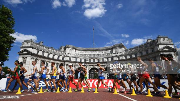London United Kingdom 13 August 2017 Athletes pass Admiralty Arch in the Men's 20km Race Walk final during day ten of the 16th IAAF World Athletics...