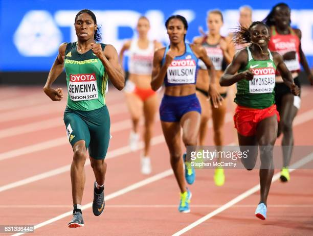London United Kingdom 13 August 2017 Caster Semenya of South Africa on her way to winning the final of the Women's 800m event during day ten of the...