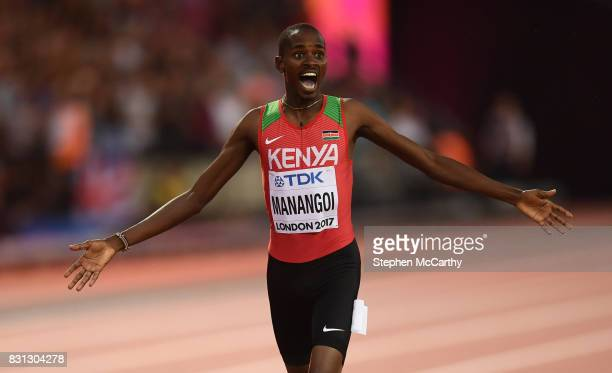 London United Kingdom 13 August 2017 Elijah Motonei Manangoi of Kenya celebrates winning the final of the Men's 1500m event during day ten of the...