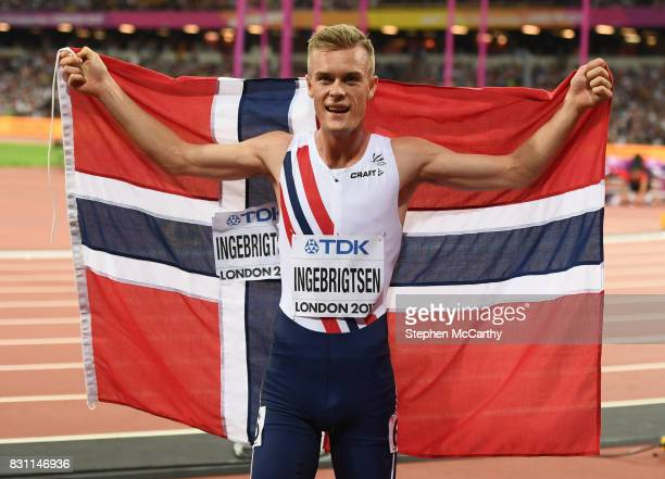 London United Kingdom 13 August 2017 Filip Ingebrigtsen of Norway after finishing third in the final of the Men's 1500m event during day ten of the...