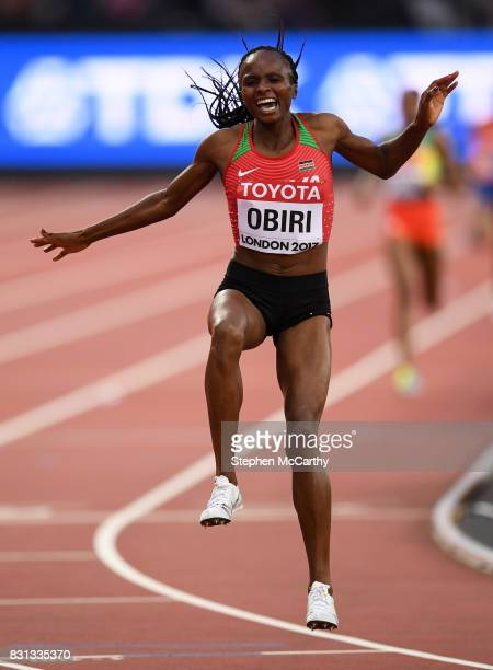 London United Kingdom 13 August 2017 Hellen Onsando Obiri of Kenya celebrates winning the final of the Women's 5000m event during day ten of the 16th...