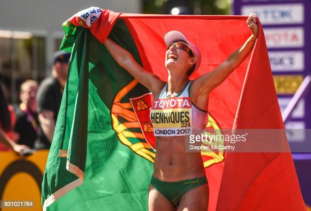 London United Kingdom 13 August 2017 Ines Henriques of Portugal celebrates after winning the Women's 50km Race Walk final during day ten of the 16th...