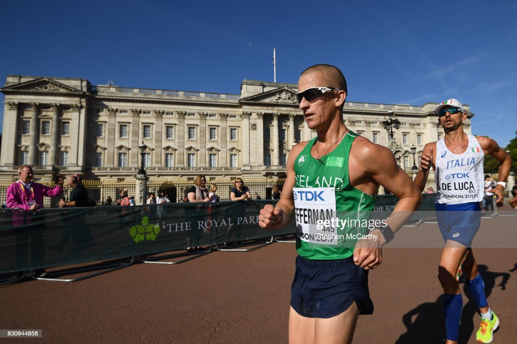 London , United Kingdom - 13 August 2017; Robert Heffernan of Ireland passes Buckingham Palace as he competes in the Men's 50km Race Walk final during day ten of the 16th IAAF World Athletics Championships at The Mall in London, England.