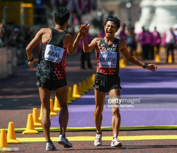 London United Kingdom 13 August 2017 Third place Kai Kobayashi of Japan right celebrates with Hirooki Arai of Japan who finished second following the...