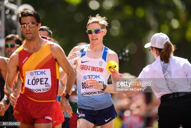 London United Kingdom 13 August 2017 Tom Bosworth of Great Britain receives a yellow card in the Men's 20km Race Walk final during day ten of the...