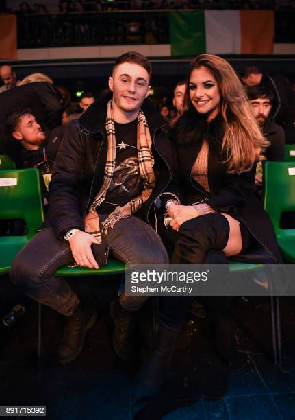 London United Kingdom 13 December 2017 Boxer Ryan Burnett in attendance with his fiancee Lara Milner at York Hall prior to the WBA Lightweight World...