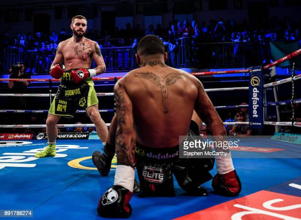 London United Kingdom 13 December 2017 Cedrick Peynaud left and Conor Benn during their Welterweight bout at York Hall in London England
