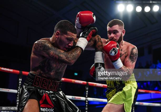 London United Kingdom 13 December 2017 Cedrick Peynaud right and Conor Benn during their Welterweight bout at York Hall in London England