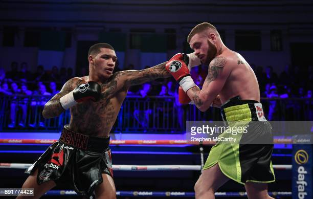 London United Kingdom 13 December 2017 Conor Benn left and Cedrick Peynaud during their Welterweight bout at York Hall in London England