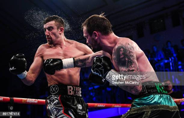 London United Kingdom 13 December 2017 Miles Shinkwin right and Jake Ball during their WBA Continental LightHeavyweight Championship bout at York...