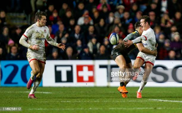 London United Kingdom 13 December 2019 Billy Burns of Ulster passes to teammate Jacob Stockdale during the Heineken Champions Cup Pool 3 Round 4...