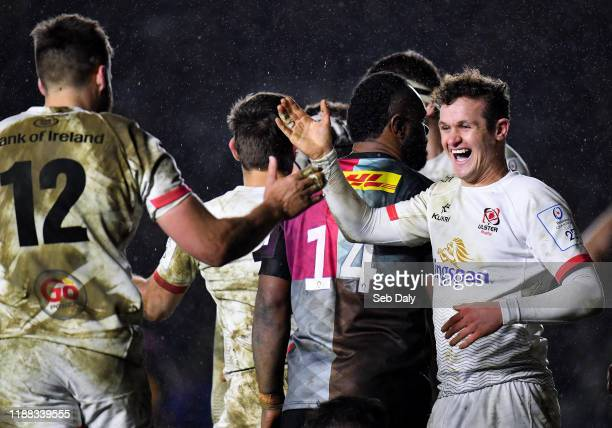 London United Kingdom 13 December 2019 Billy Burns right and Stuart McCloskey of Ulster congratulate each other following their side's second try...