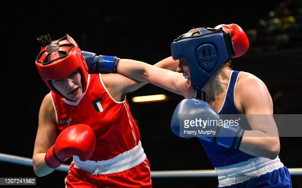 London , United Kingdom - 15 March 2020; Christina Desmond of Ireland, right, and Angela Carini of Italy in their Women's Welterweight 69KG...