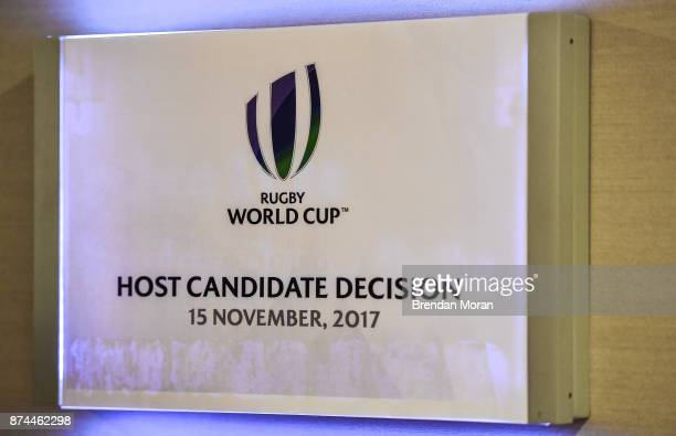 London United Kingdom 15 November 2017 A general view of the Rugby World Cup 2023 host union announcement at the Royal Garden Hotel London England