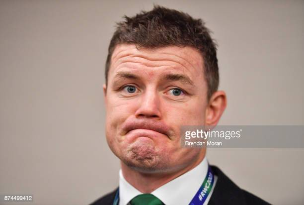 London United Kingdom 15 November 2017 Ireland 2023 bid ambassador Brian ODriscoll after the Rugby World Cup 2023 host union announcement at the...
