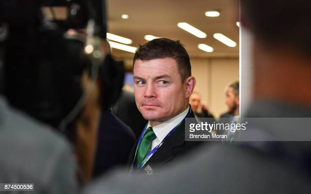 London United Kingdom 15 November 2017 Ireland 2023 bid ambassador Brian ODriscoll leaves the bid room after the Rugby World Cup 2023 host union...