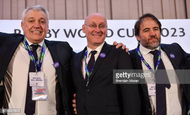 London United Kingdom 15 November 2017 Members of the French bid team from left Director of the France 2023 bid Claude Atcher President of the...