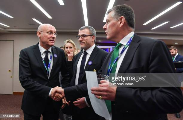 London United Kingdom 15 November 2017 President of the Fédération Française de Rugby Bernard Laporte left is congratulated by IRFU chief executive...
