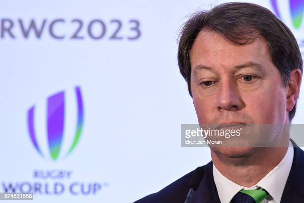 London United Kingdom 15 November 2017 South Africa Rugby CEO Jurie Roux after the Rugby World Cup 2023 host union announcement at the Royal Garden...