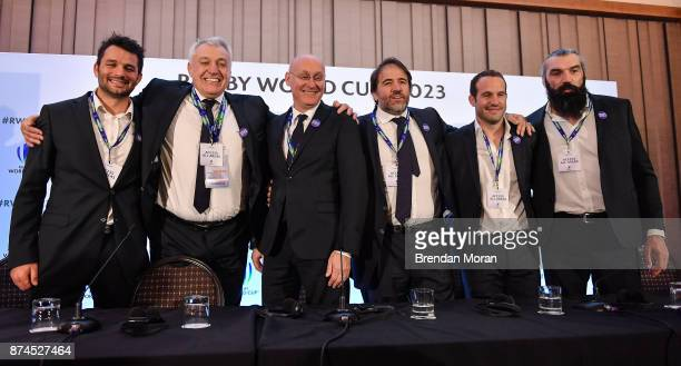 London United Kingdom 15 November 2017 The French bid team from left Fabrice Estebanez Director of the France 2023 bid Claude Atcher President of the...
