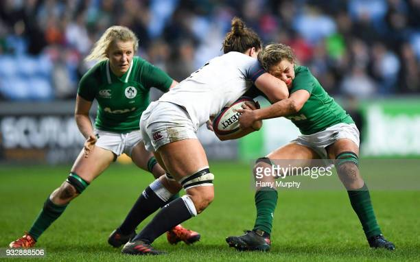London United Kingdom 16 March 2018 Abbie Scott of England is tackled by Ashleigh Baxter of Ireland during the Women's Six Nations Rugby Championship...