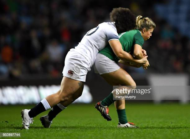 London United Kingdom 16 March 2018 Ailsa Hughes of Ireland is tackled by Shaunagh Brown of England during the Women's Six Nations Rugby Championship...